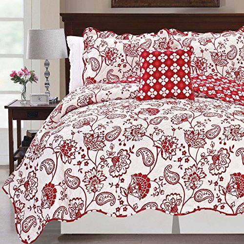 (Serenta Printed Paisley Flower 4 Piece Reversible Quilted Coverlet Set, King Red)
