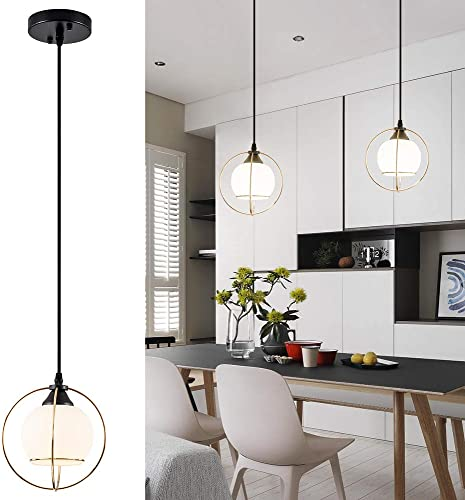Mini Glass Shade Pendant Light with Cross Metal Wire, Modern Drop Hanging Light for Kitchen Island, Dining Room 1-Pack No Bulb