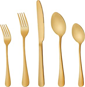 Gold Silverware Set, 20-Piece Stainless Steel Cutlery Set(Accommodating 4 People)Gold Mirror Finish,Dishwasher Safe(Gold)