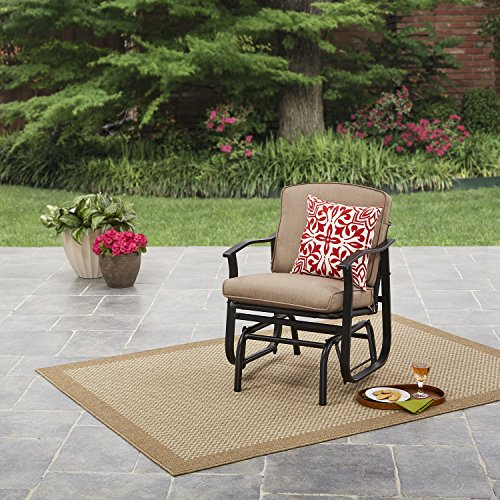 Mainstays Belden Park Cushioned Glider Chair (Seaside Sand) + Include Free Cleaning Cloth (Patio Glider Mainstay)