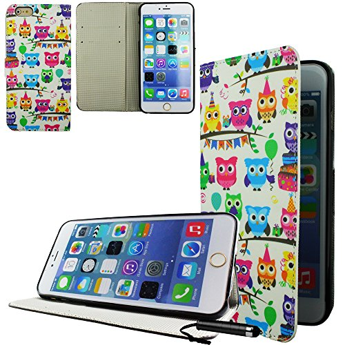 Ownstyle4you - APPLE IPHONE 6S PLUS Etui Wallet Coque Housse PREMIUM Portefeuille Eco Cuir Side OWL PARTY Protection Pare-Chocs Goutte Absorption des Chocs + Protecteur d'écran tactile