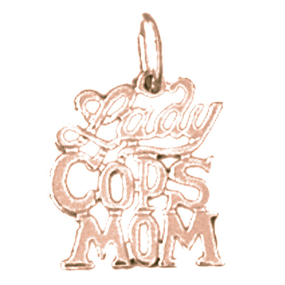 14K Rose Gold-plated 925 Silver Lady Cops Mom Pendant with 18 Necklace Jewels Obsession Lady Cops Mom Necklace