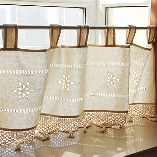 ZHH Handmade Hollow Flower Cafe Curtain Linen And Cotton Crochet Lace  Window Patchwork Valance 17 By 59 Inch, Cream / Light Beige