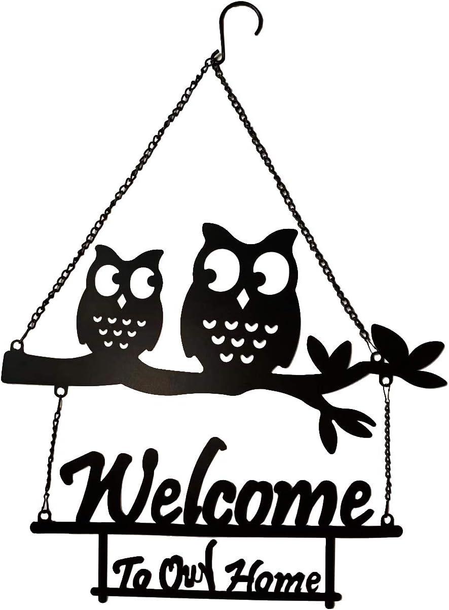 Vintage Metal Owls Welcome Door Sign Handcrafted Hanging Owl Ornament Kitchen Office Living Room Garden Porch Wall Art Decoration 23''H