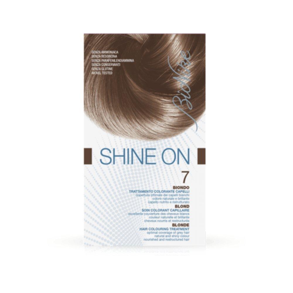 Bionike - Shine On 7 Blond 1 Tube Coloration 50Ml + 1 Flacon Révélateur 75Ml + 1 Sachet Masque Rééquilibrant 15Ml + Gants SF0022135