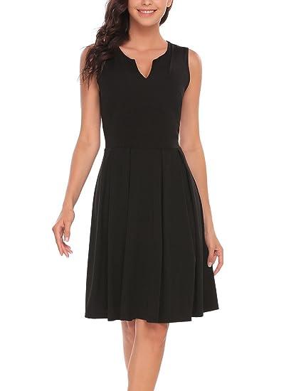 0728a4dde5ca ANGVNS Women's Casual V Neck Empire Waist Sleeveless Pleated Skater Flare  Dress