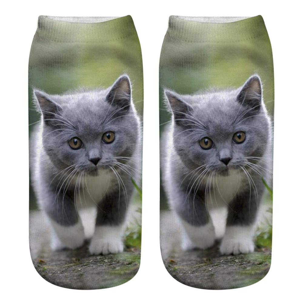 Hengshikeji Women Man Unisex 3D Cat Printed Crazy Funny Cute Short Ankle Sports Paw Crew Socks-Sublimated Print