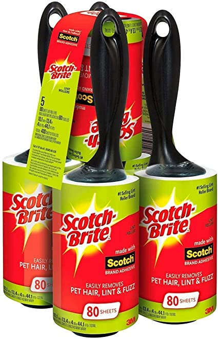 5-Pack Scotch-Brite Lint Roller Pet Hair Fuzz Remover Clothes Laundry 475 Sheets