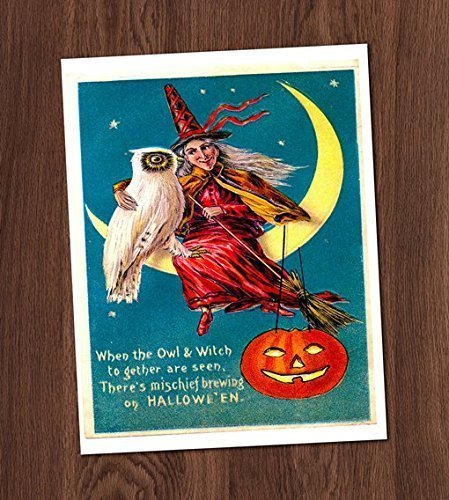 Halloween Greeting Witch Moon Owl Vintage Card Art Print 8x10 Wall Art Decor