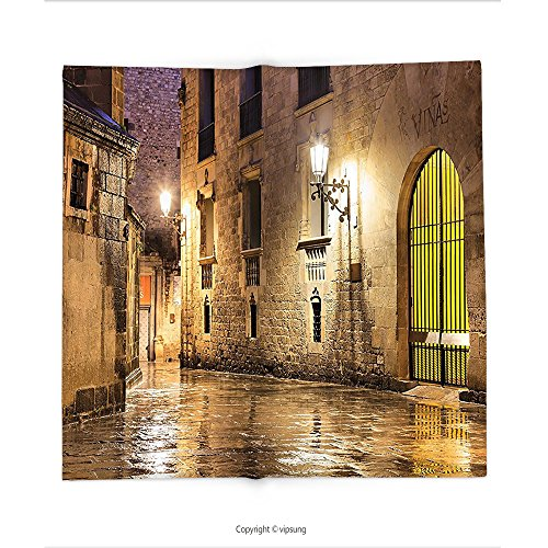 Custom printed Throw Blanket with Gothic Decor Collection Gothic Ancient Stone Quarter of Barcelona Spain Renaissance Heritage Gothic Night Street Photo Cream Super soft and Cozy Fleece Blanket - Collection Barcelona Spice