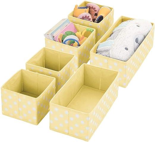mDesign Juego de 6 Cajas de almacenaje para Cuarto Infantil, baño, etc. – Cestas organizadoras con Estampado en Zigzag – 6 organizadores de armarios de Fibra sintética en Dos tamaños – Amarillo Claro: Amazon.es: Hogar