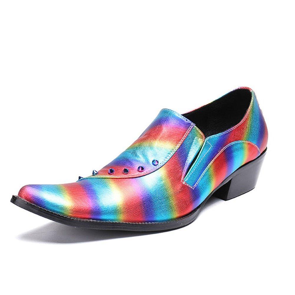 Men Shoes Leather Rivet Rainbow Stripes Business Formal Dress Rock Banquet Wedding Dance Size 38To 46