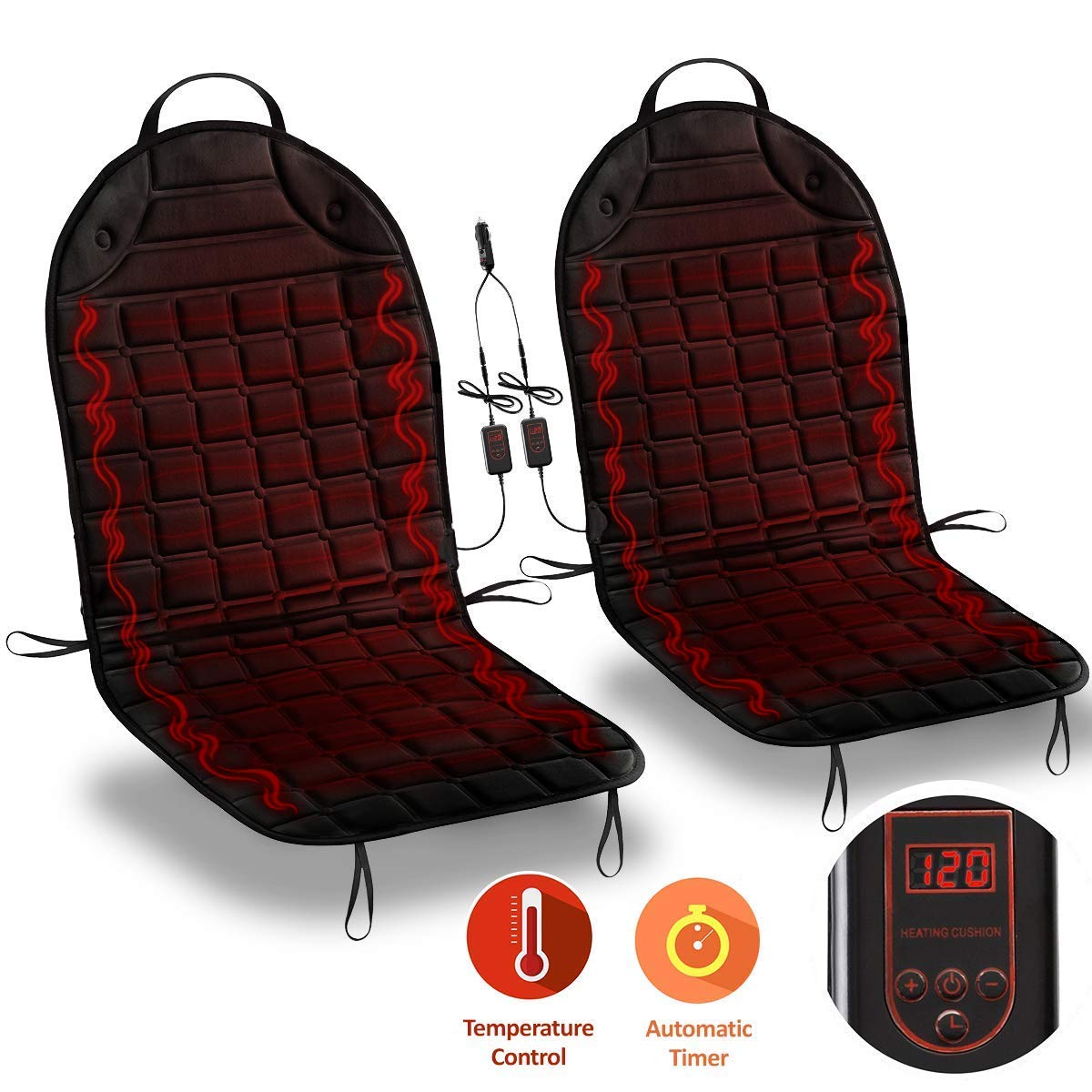 Zone Tech 12 Volt Heated Seat Cushion 2 Pack with 2 separate controllers with 1 integrated plug Comfort Wheels SE0019