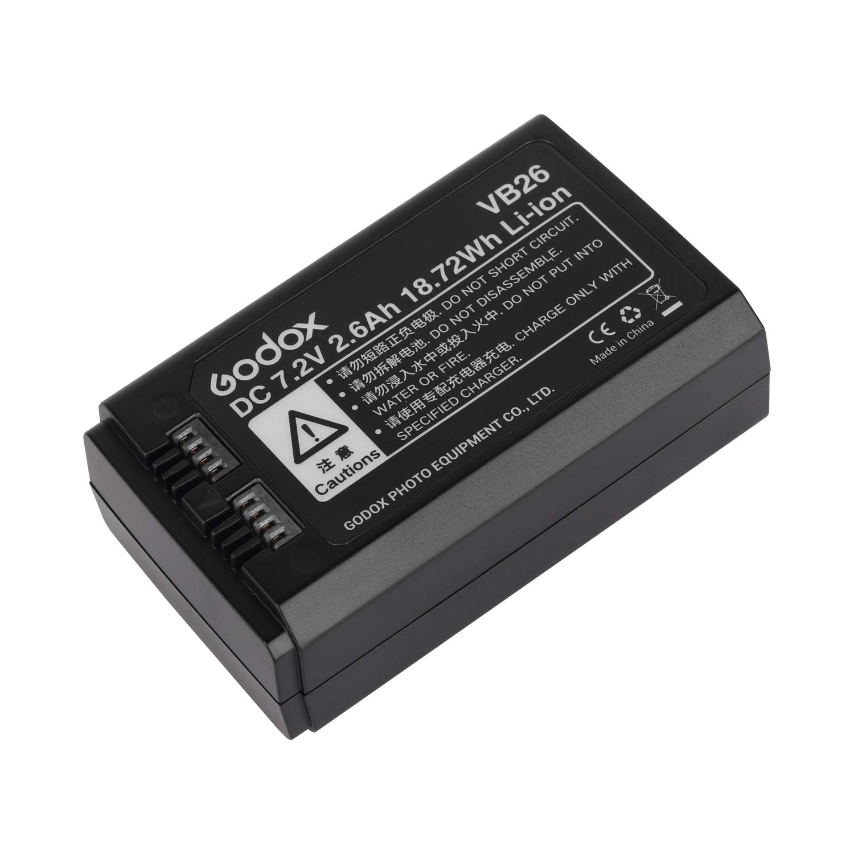 Fomito Godox VB26 DC 7.2V 2600mAh Lithium Battery Power Pack for Godox V1-C/N/S/O/F Flash by FOMITO