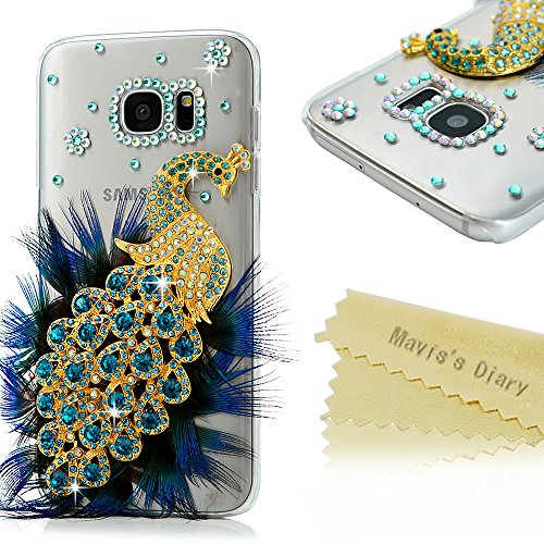 Galaxy S7 Edge Case - Mavis's Diary 3D Handmade Bling Crystal Luxury Peacock with Fashion Feather Shiny Blue Diamond Glitter Sparkle Rhinestone Gems Design Clear Hard Cover for Samsung Galaxy S7 Edge
