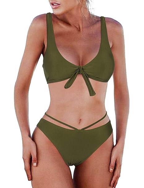 02b9cc0df6 BMJL Women's Cheeky Beachwear Triangle Knotted Tie Bikini Sets Sexy Swimwear  V Neck Swimming Costume Two