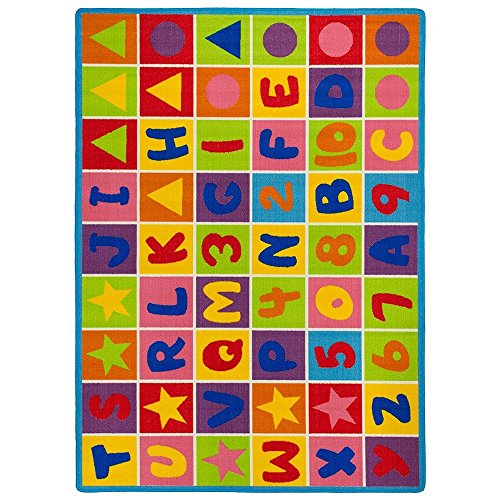 Kids / Baby Room / Daycare / Classroom / Playroom Area Rug. Educational. Letters and Numbers. Fun. Non-Slip Gel Back. Bright Colorful Vibrant Colors (8 Feet X 10 Feet) by iSavings (Image #1)