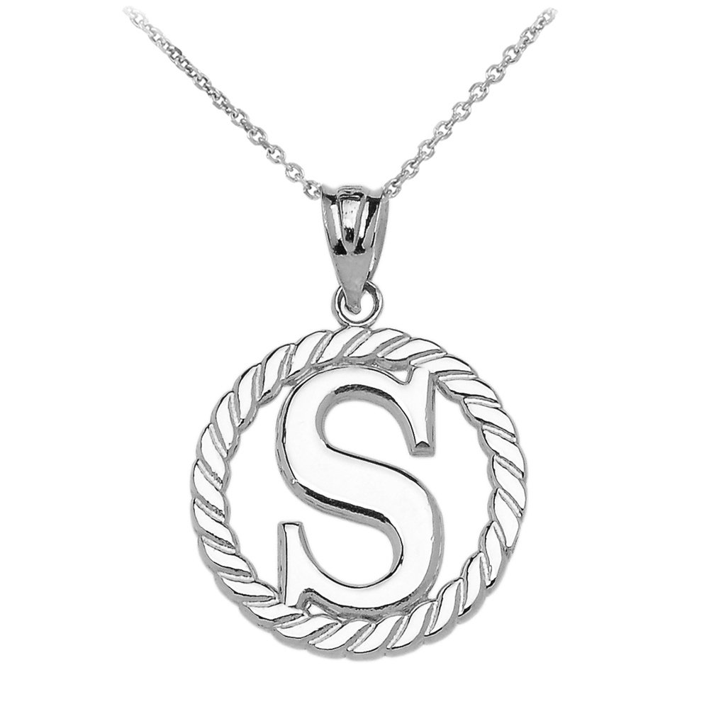 High Polish 925 Sterling Silver Roped Circle S Initial Pendant Necklace