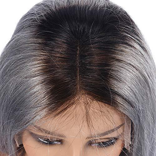 Real Persona Pelo Lleno Encaje Cabeza Cubierta Natural Plata Gris Medio Longitud Stright Peluca Cómodo Elástico Neto 18 Pulgadas: Amazon.es: Belleza