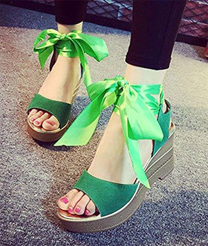 Aisun Damen Einfarbig Schnürung Plateau Offen Zehe Keilabsatz Sandalen Grün