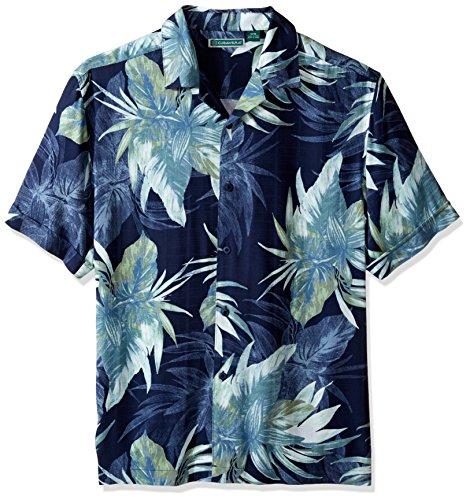 Cubavera Men's Windowpane Camp Tropical Print Woven Shirt...