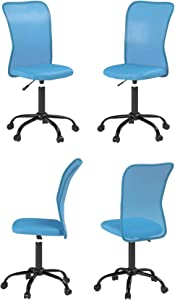 Ergonomic Cute Mesh Office Chair, Armless Lumbar Support, Chic Modern Desk PC Chair Black, Mid Back Adjustable Swivel for Home Office Conference Study Room Mesh Office Chair - Blue - Set of 4