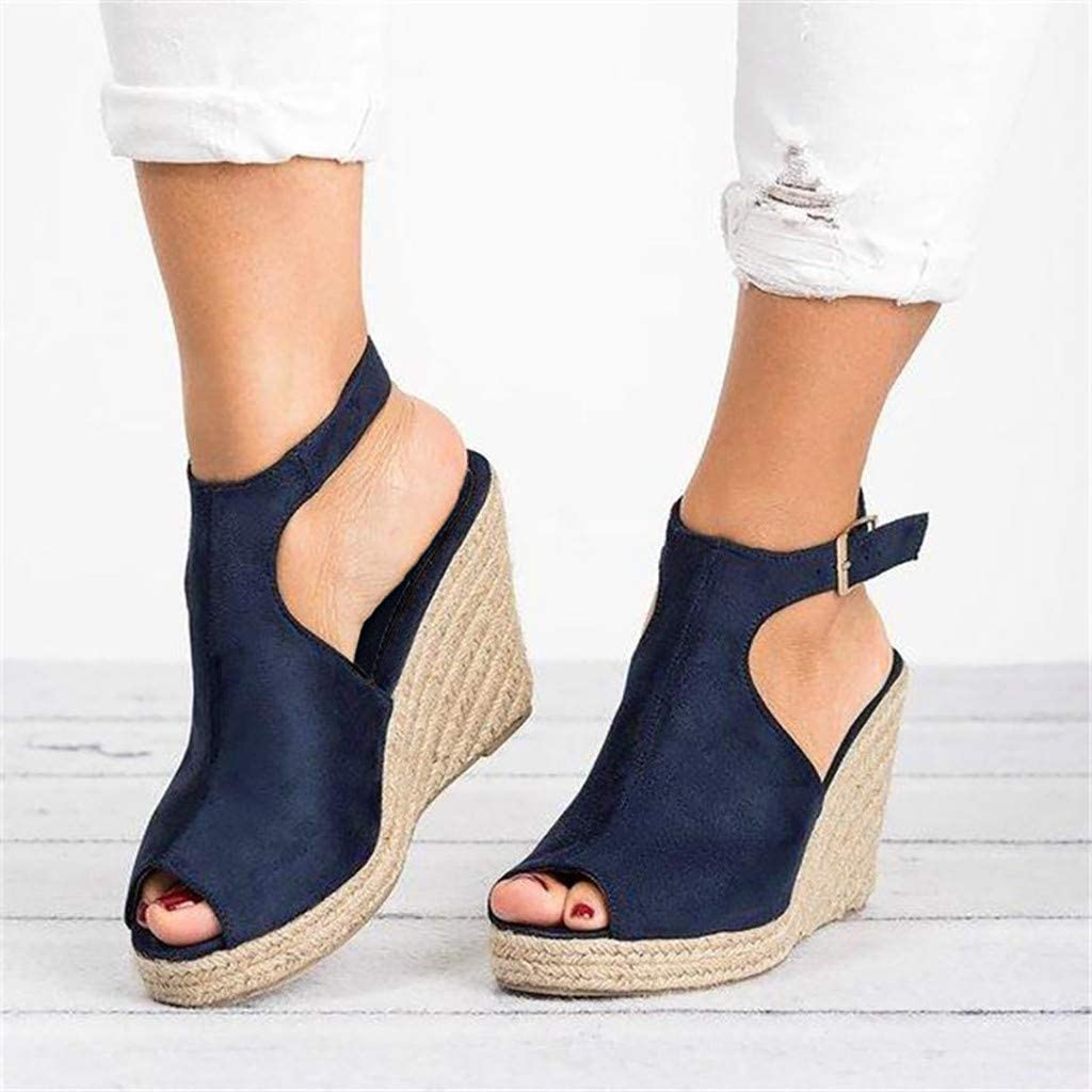 Womens Platform Sandals Buckle Espadrille Wedge Ankle Open Toe Summer Strap Sandal Vedolay Sandals for Women