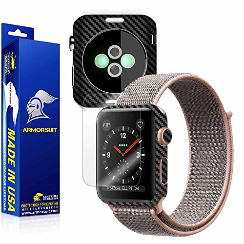 ArmorSuit MilitaryShield Black Carbon Fiber Skin Back Protector Film + Max Coverage Anti-Bubble Screen Protector Compatible with Apple Watch 38mm (Series 3) - HD Clear by ArmorSuit