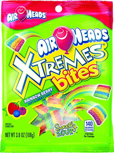 Airhead Xtremes Bites Rainbow Berry Peg Bag, Non Melting, 3.8 oz