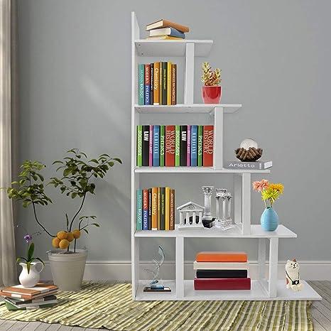 new style 9b8d1 33efb Seeutek Ladder Corner Bookshelf 5 Layer Bookcase Wood Display and Metal  Book Shelf Vintage Industrial Rustic Bookshelf Open Storage Etagere Book  Frame ...