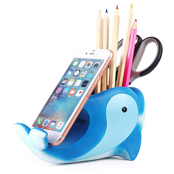 Pen Pencil Holder with Phone Stand, Coolbros Resin Dolphin Shaped Pen Container Cell Phone Stand Carving Brush Scissor Holder Desk Organizer Decoration for Office Desk Home Decorative (Dolphin)