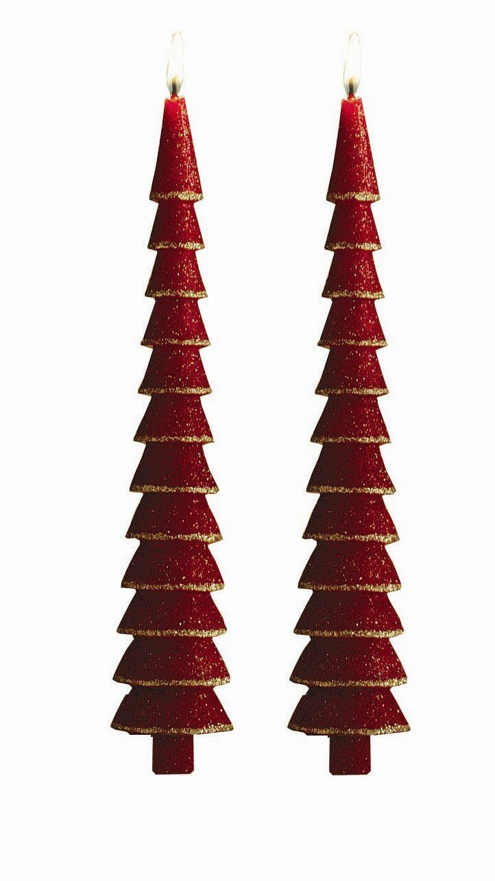 """tag Tree 11"""" Taper Candles, Red With Gold Glitter, Set of 2 610101"""