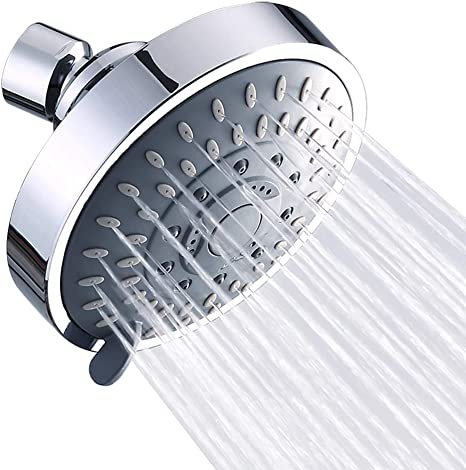 Showers Head High Pressure 4 Inch 5-setting Adjustable Shower Head Top Sprays