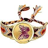 MINILUJIA 波西米亚可调节魅力蝴蝶金色表盘手表 多彩绳编织女士手镯手表