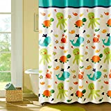 MangGou Funny Kids Shower Curtain Cartoon Nautical Tropical Underwater Polyester Shower Curtain liner with Octopus Starfish Shells Babies Girl Nursery Bath Mildew Resistant Waterproof 72x72 inches
