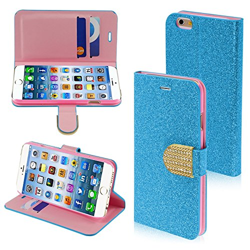 MYBAT Glittering MyJacket with Diamante Belt for iPhone 6 - Retail Packaging - Blue/Gold