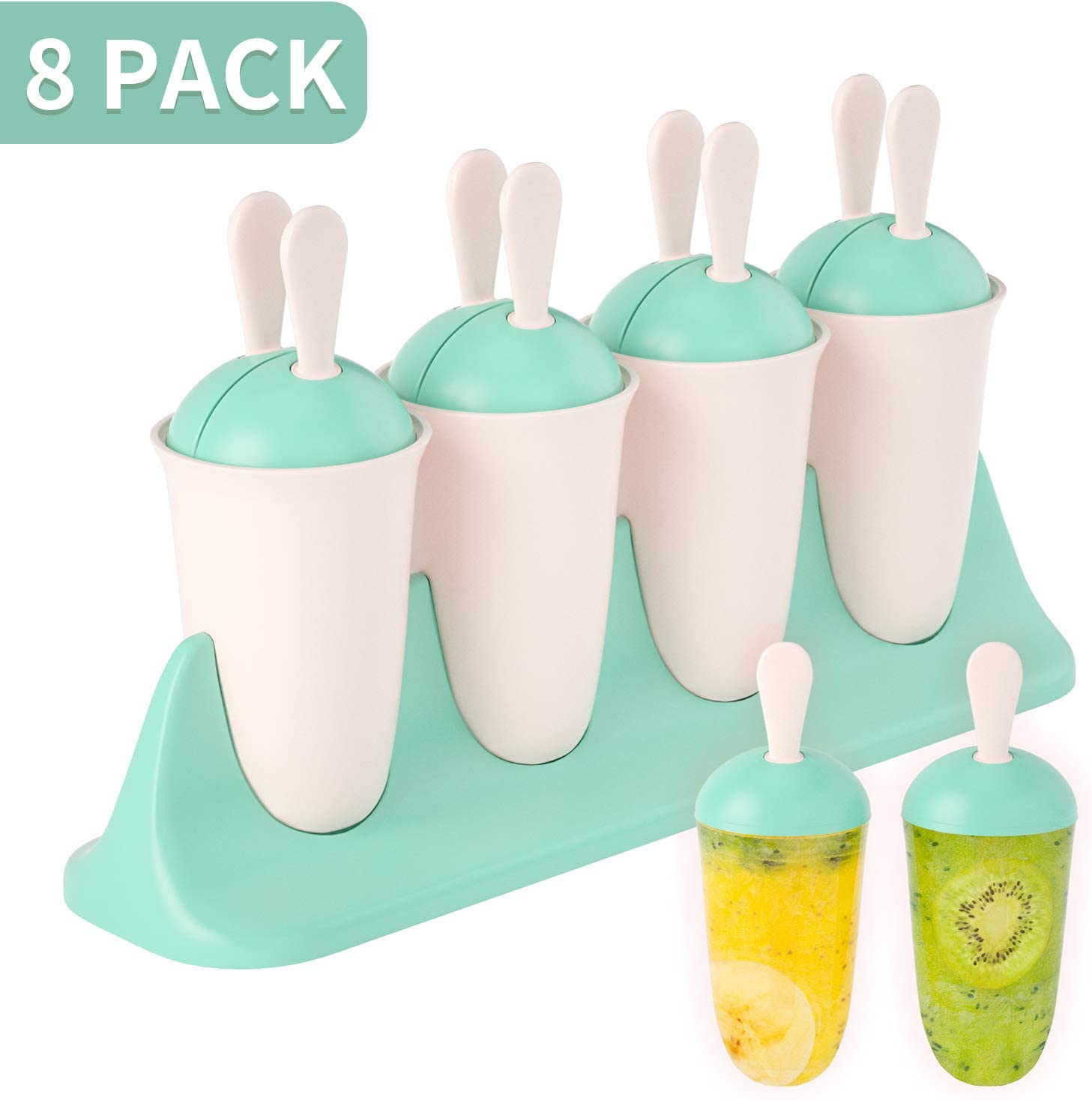 LEEFE Popsicle Molds 8 Packs, Rabbit Ear Ice Pop Makers Reusable Easy Release Ice Pop Mold, Food Grade Material BPA Free Ice Cream Mold, Homemade Popsicle Mold for Kids