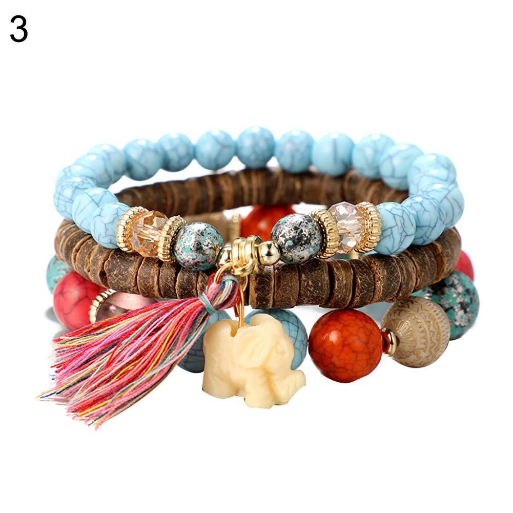 Himpokejg Women's Fashion Boho Multilayer Beaded Tassel Elephant Pendant Bracelet Jewelry 3Pcs/Set-Blue
