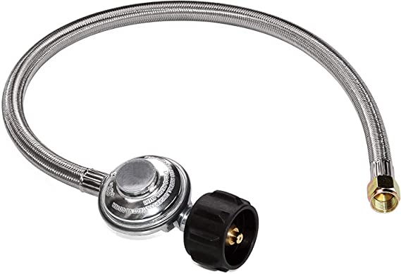 DOZYANT 2 Feet Universal QCC1 Low Pressure Propane Regulator Replacement with Stainless Steel Braided Hose for Most LP Gas Grill