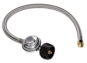 """DOZYANT 2 Feet Universal QCC1 Low Pressure Propane Regulator Grill Replacement with Stainless Steel Braided Hose for Most LP Gas Grill, Heater and Fire Pit Table, 3/8"""" Female Flare Nut"""
