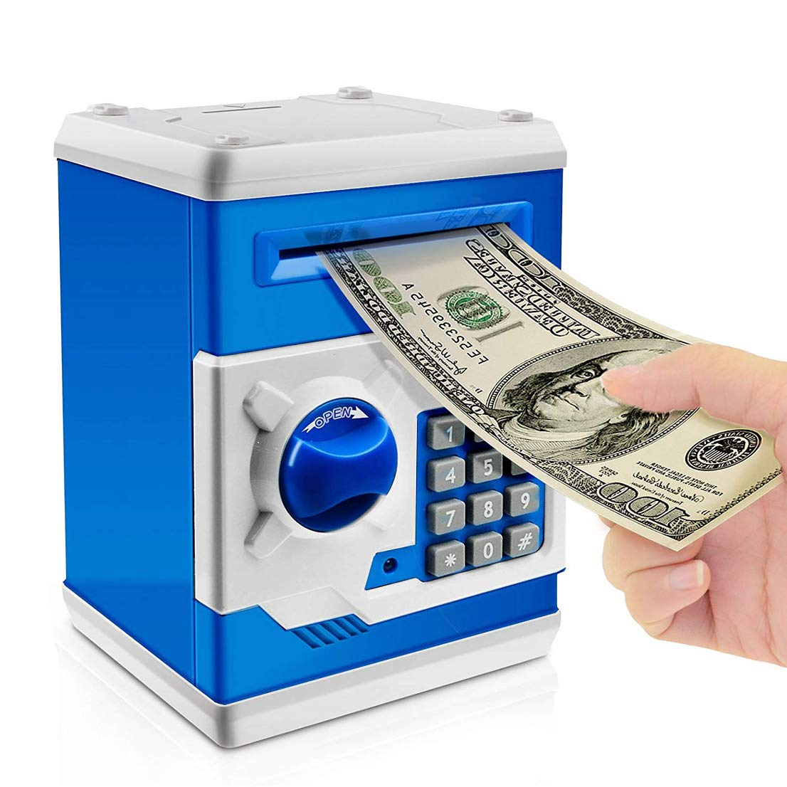 whatswhats Cash Coin Saving Piggy Bank Electric ATM Money Safe Box with Password Combination Lock Toy Gift for Kids and Adults - Blue and White
