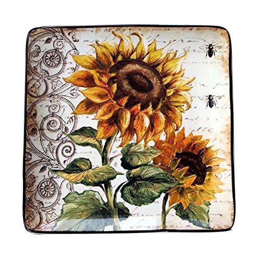 - Good Bowl 10in Sunflower Square Plate Ceramic Tableware for Restaurant Kitchen Fruit Cake Dessert Gourmet Cuisine Wobble Plate