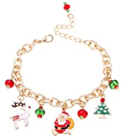 Bullidea 1X Fashion Christmas Bracelet Crystal Charm Pearl Chain with Christmas Pendant For Womens Girls Party Jewellery