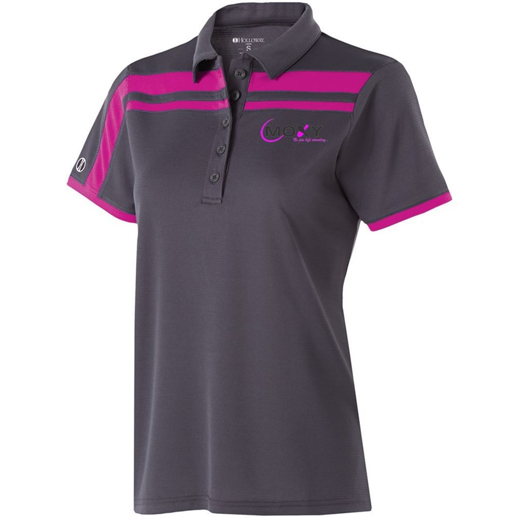 Moxy Ladies Dry Breathe Charge Polo (X-Small, Carbon/Power Pink)