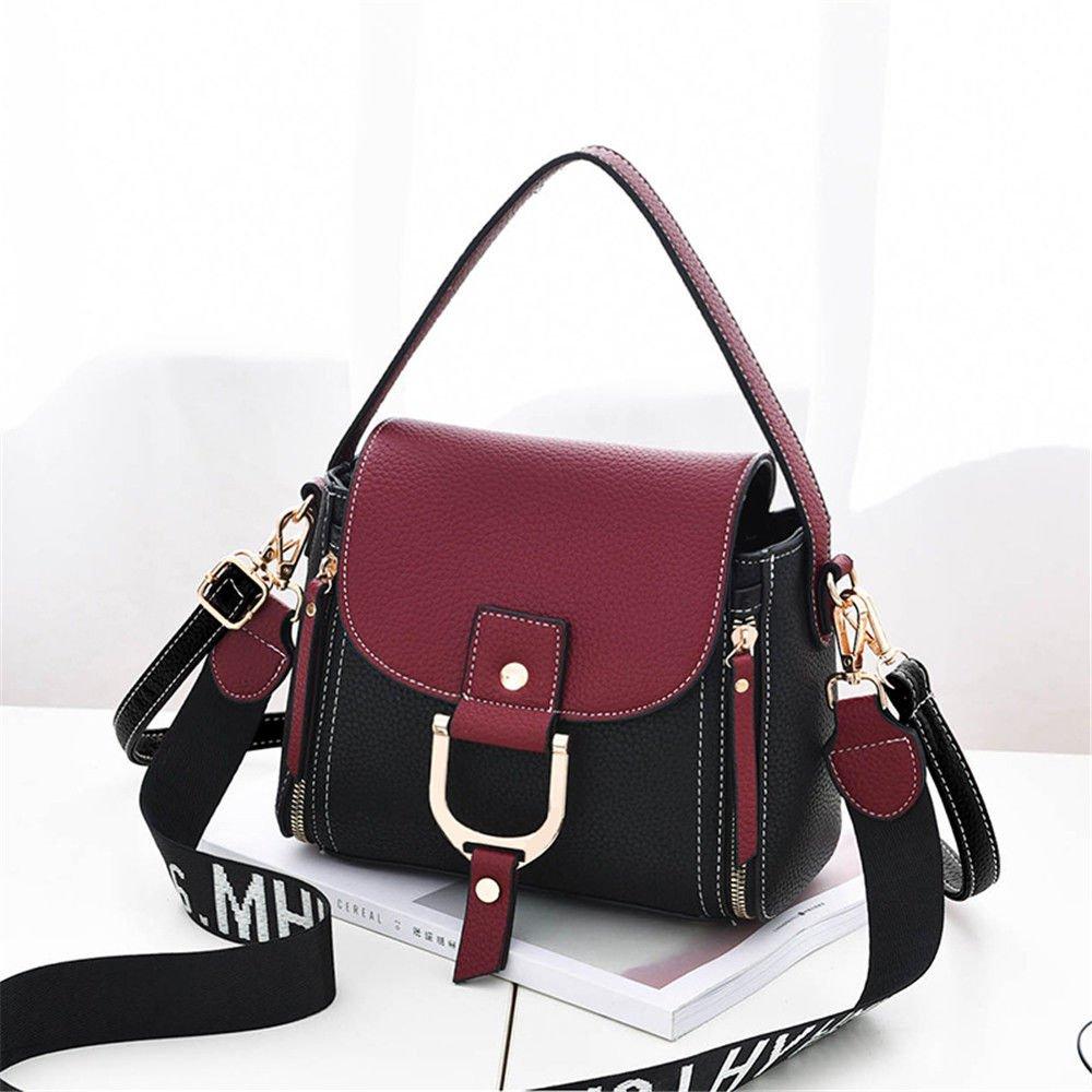 SJMMBB Lady'S Handbag Slanted Spans,Claret,23X20X11Cm