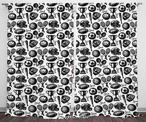 10' Satin Gloves (Satin Window Drapes Curtains [ Sport,Monochrome Trophy Baseball Glove Ping Pong Ball Sketch Style Bat Tournament Inspired,Black White ] Window Curtain Window Drapes for Living Room Bedroom Dorm Room C)