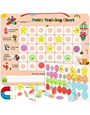 PutskA Potty-Training-Magnetic-Reward-Chart for Toddlers - Potty Chart with Multicolored Emoji & Star Stickers – Motivational Toilet Training for Boys & Girls (Animal Theme)