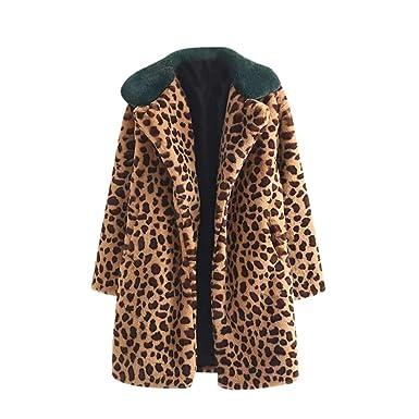 Yvelands Mujer Tops de Invierno Abrigo Grueso Caliente Estampado de Leopardo Cordero Cachemira de Solapa Chaqueta de Punto Chaqueta de Punto Abrigo: ...