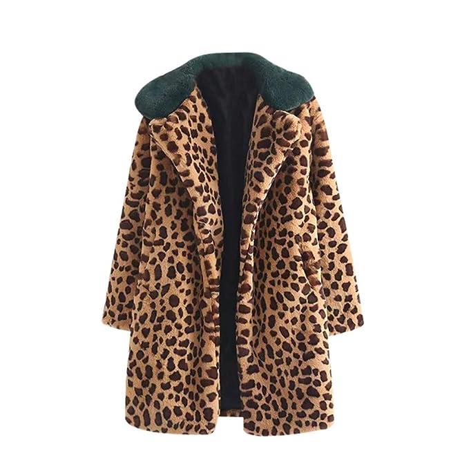 Yvelands Mujer Tops de Invierno Abrigo Grueso Caliente Estampado de Leopardo Cordero Cachemira de Solapa Chaqueta