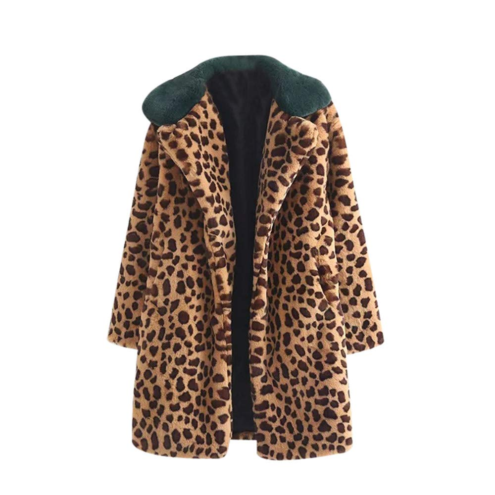 Fashion Women Winter Warm Thicken Coat Leopard Print Cashmere Lapel Jacket Cardigan(S,Coffee)